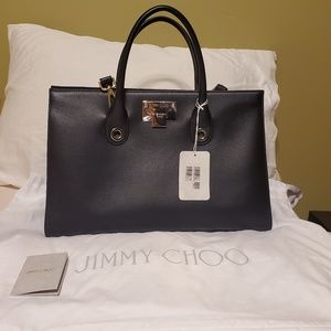 NWT Jimmy Choo Riley Black Grainy Leather Tote Bag
